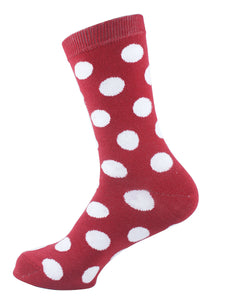 Polka Dots Women Socks White Red - samnoveltysocks.com