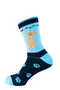 Poodle Brown Dog Socks Signature - samnoveltysocks.com