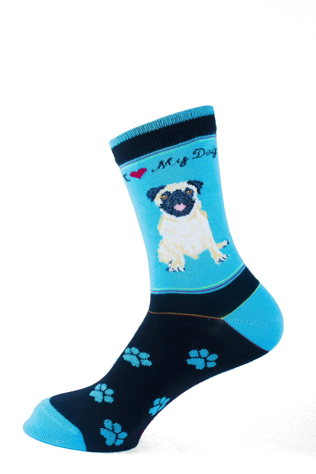 Pug Fawn Dog Socks Signature - samnoveltysocks.com