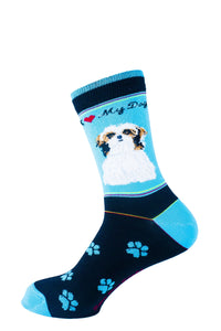Shih Tzu Tri Color Dog Socks Signature - samnoveltysocks.com