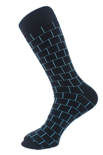 Squares Men Socks Turquoise - samnoveltysocks.com