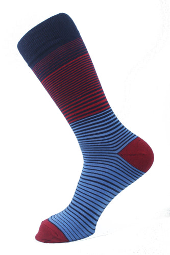Striped Men Socks Red Navy Blue Turquoise - samnoveltysocks.com