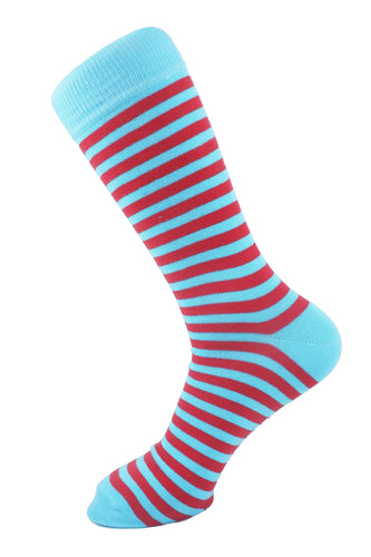 Striped Men Socks Red Turquoise - samnoveltysocks.com