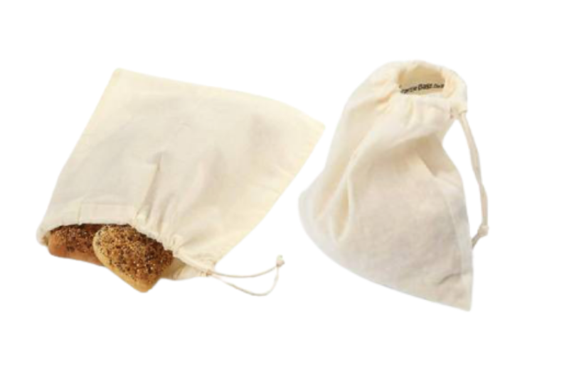 Two natural cotton grocery bags side by side on white background