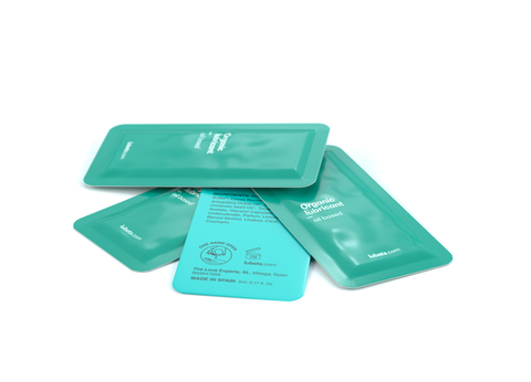 Four green colour sachets of Lubets natural lubricant