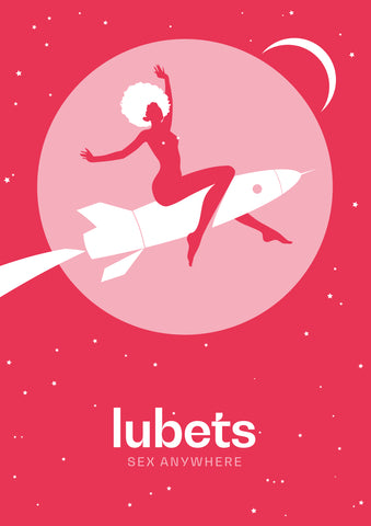Red illustration for Lubets brand natural lubes of woman straddling on rocket ship sailing across moon