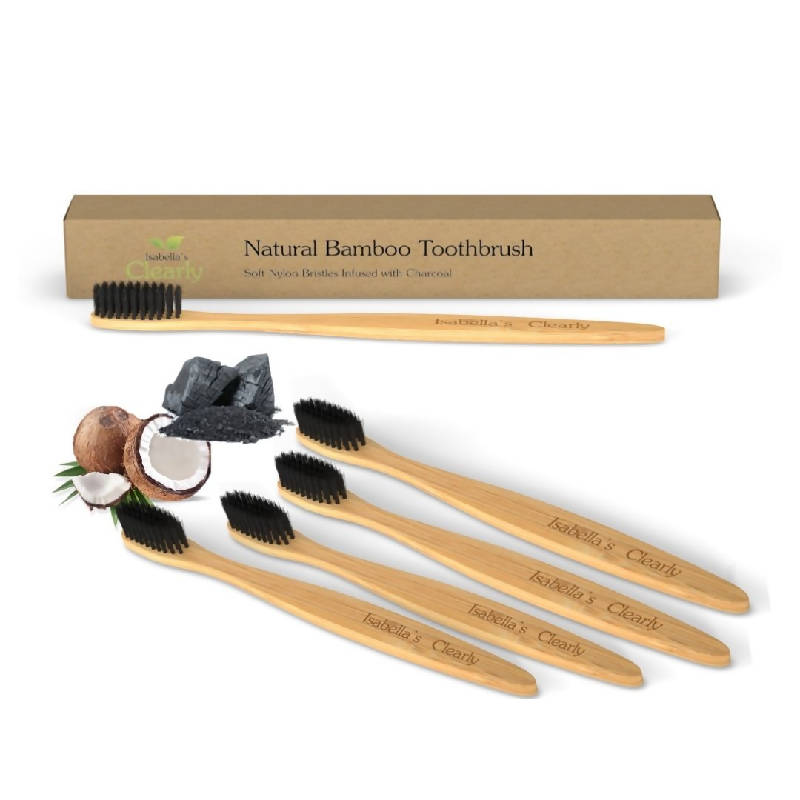 Clearly BAMBOO Soft Toothbrush, Charcoal Infused Bristles (Family Set of 4)