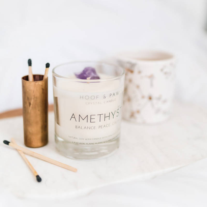Amethyst Candle with Essential Oils