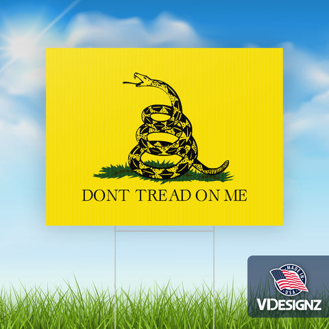 "Don't Tread On Me - 10 pack of Yard Signs - 18""x24"" Double Sided with Stepstakes"