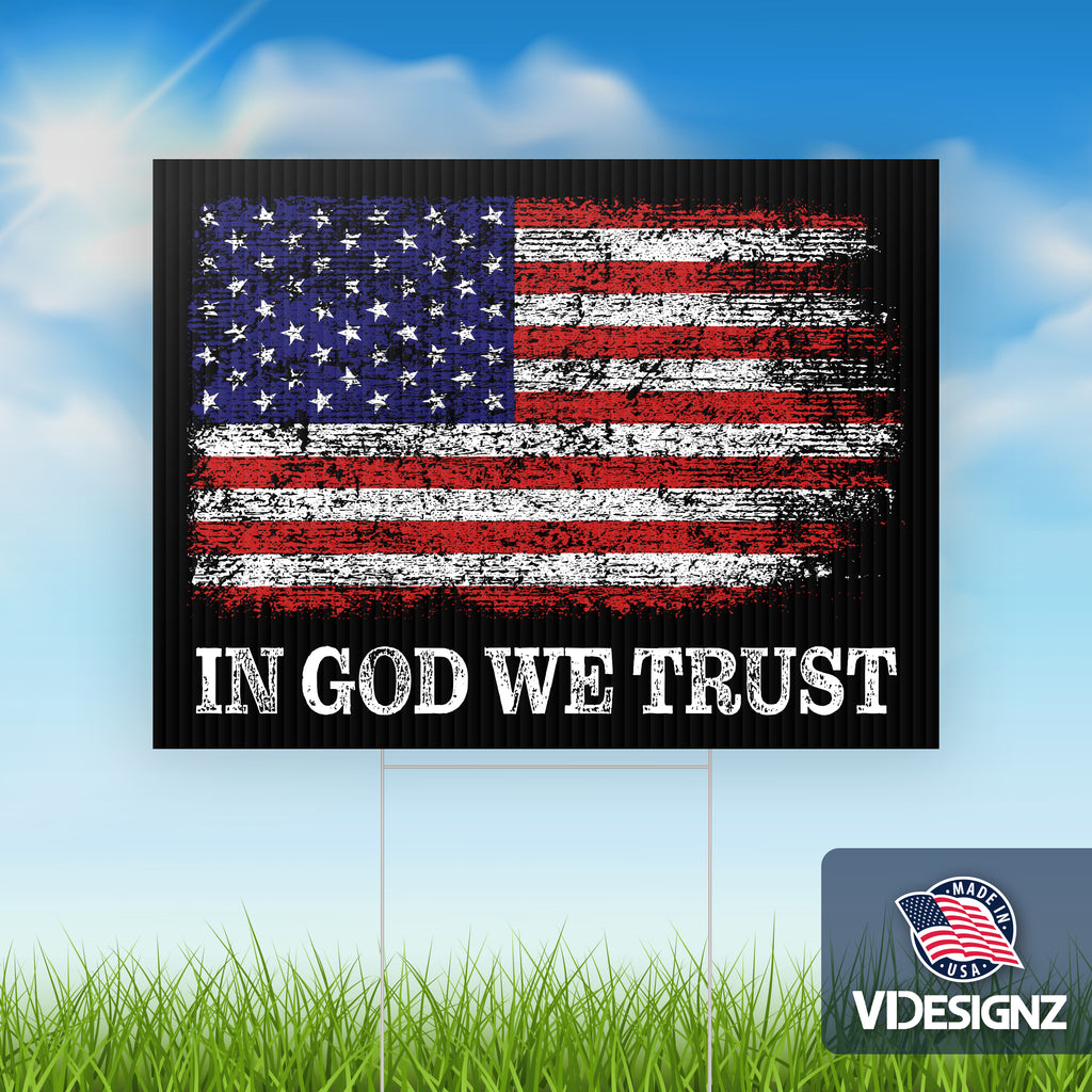 "In God We Trust American Flag - 10 pack of Yard Signs - 18""x24"" Double Sided with Stepstakes"