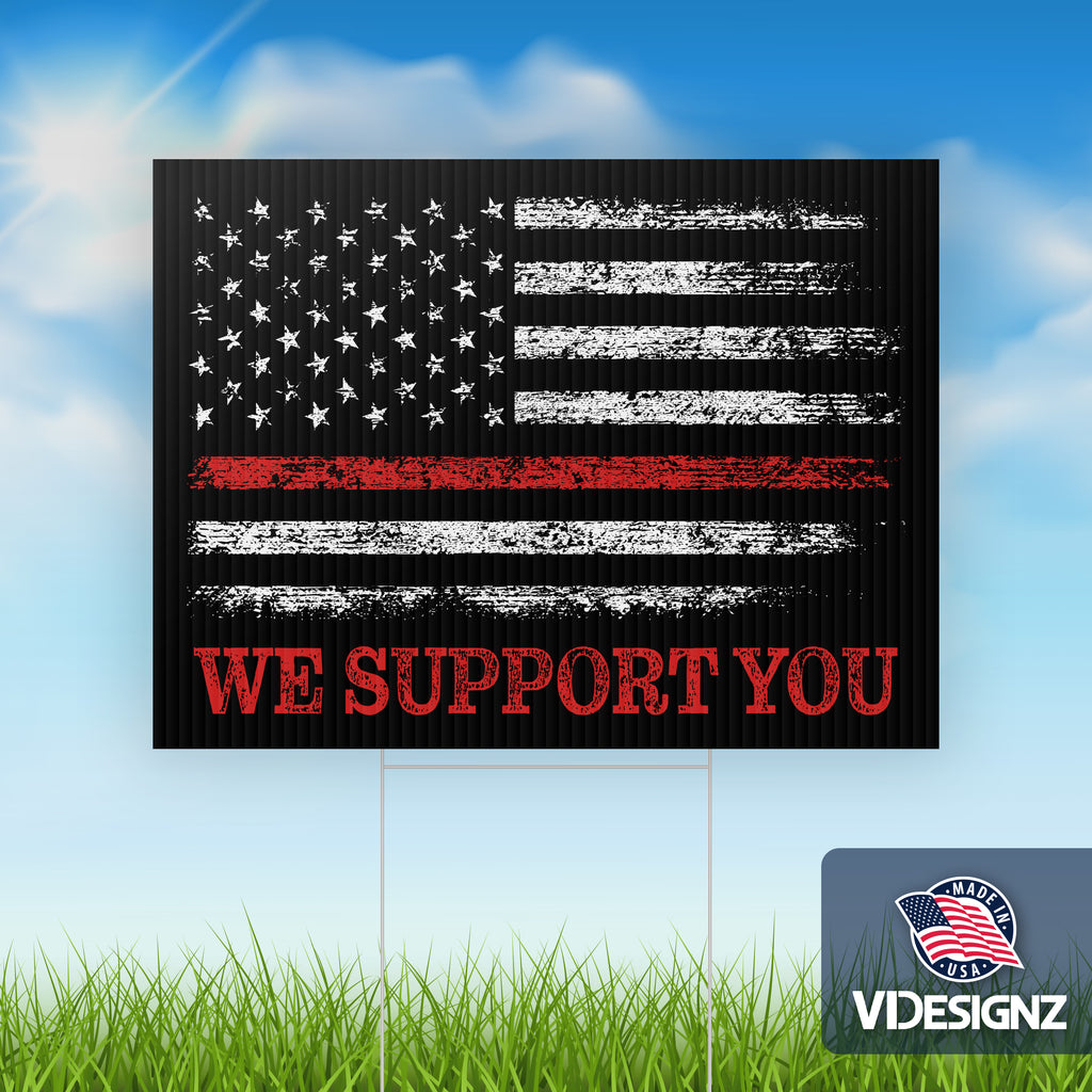 "Thin Red Line America Flag - 10 pack of Yard Signs - 18""x24"" Double Sided with Stepstakes"