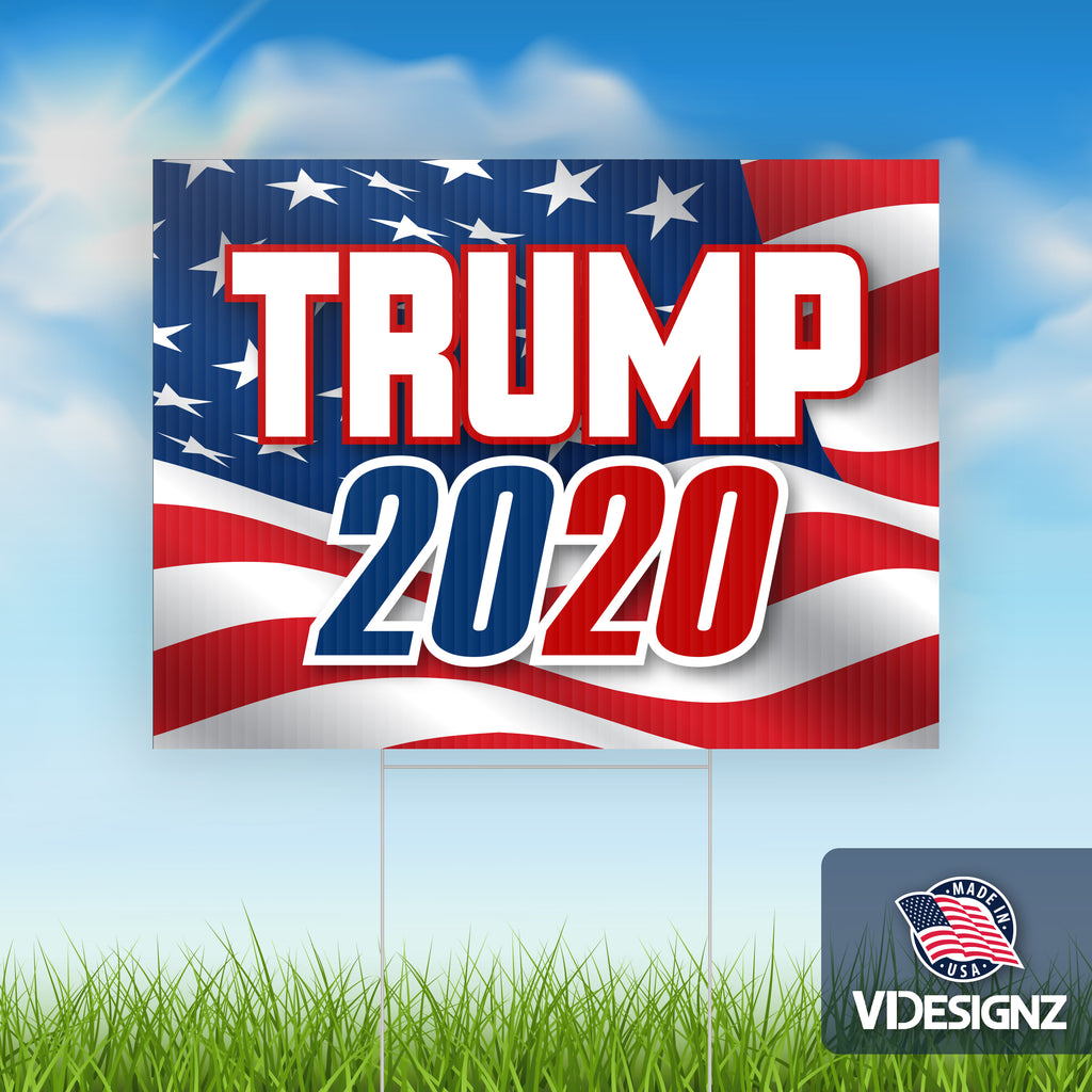 "Trump 2020 Waving American Flag - 10 pack of Yard Signs - 18""x24"" Double Sided with Stepstakes"