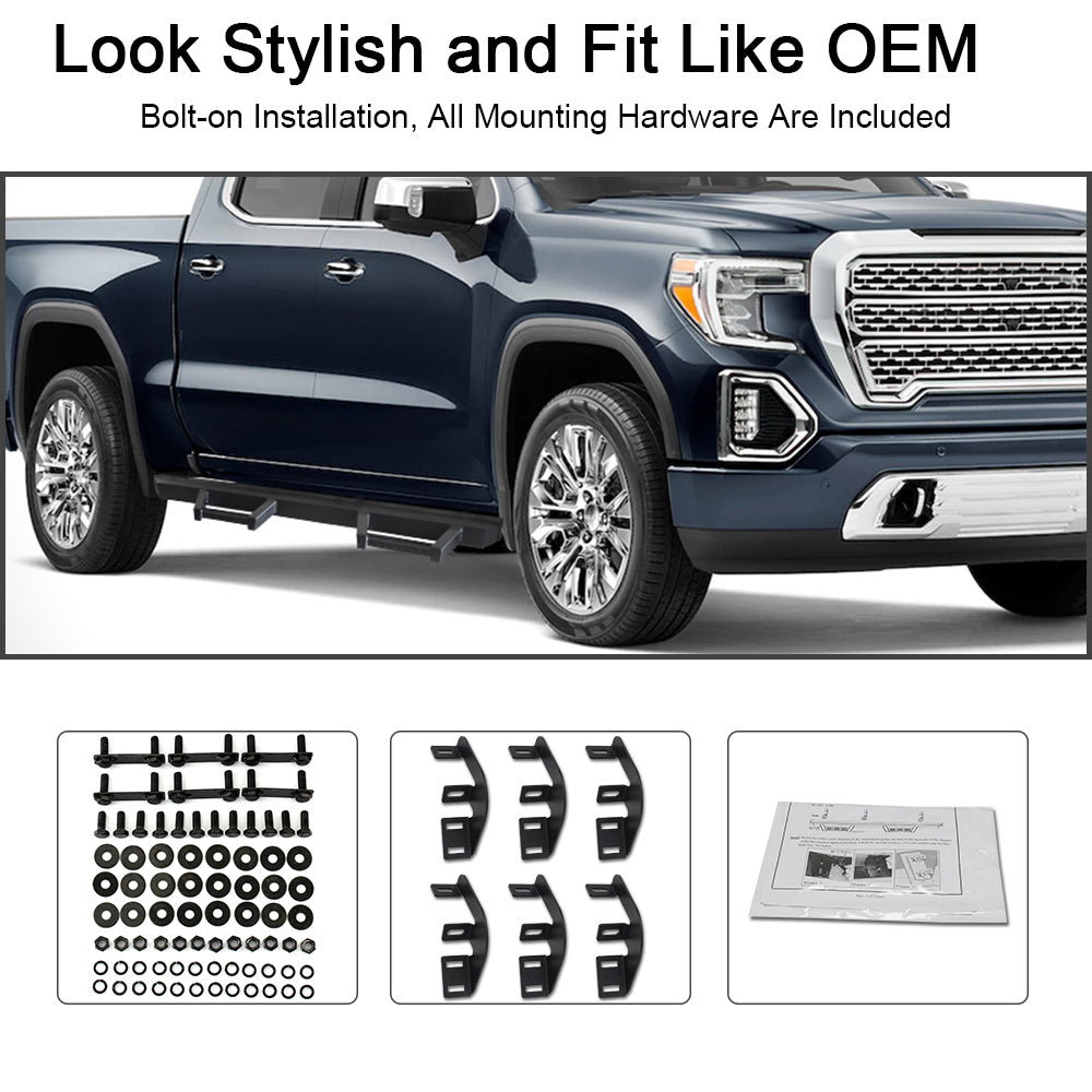 A&K Nerf Bars for Chevy Silverado GMC Sierra 1500 Next Generation Crew Cab 2019 2020