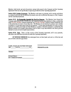 Operating Agreement for LLC's