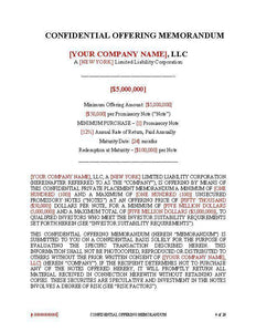 Debt PPM for LLC's ~ Rule 504