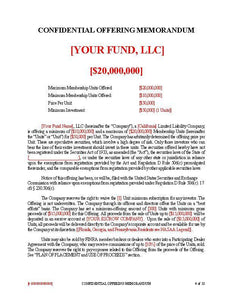 Real Estate Fund PPM ~ Rule 506(c)