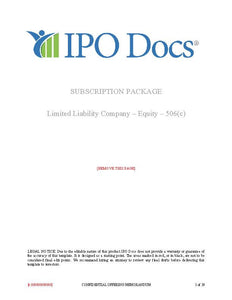 Equity Subscription Package for LLC's - Rule 506(c)