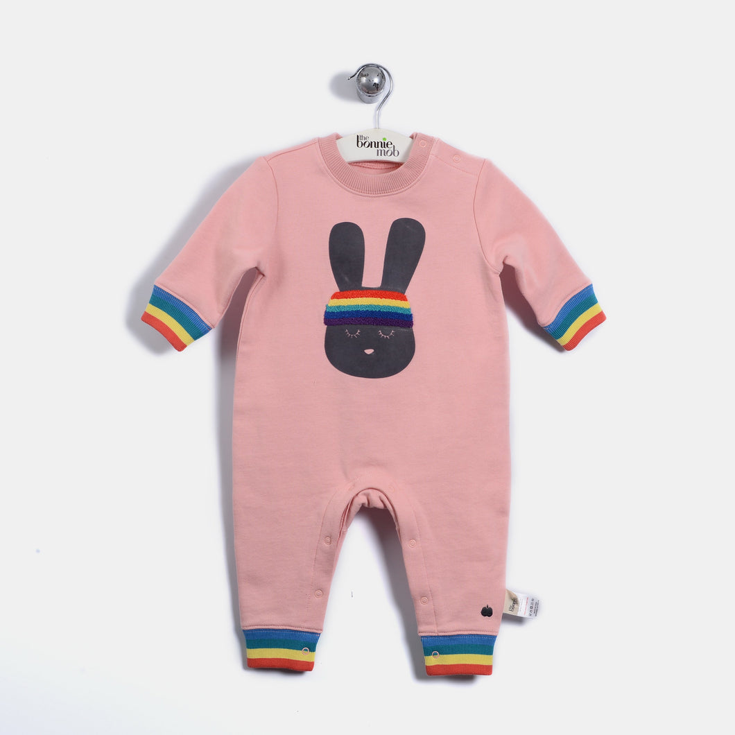 L-ELISHA - 70'S Bunny Playsuit - Baby Girl - Dusty pink