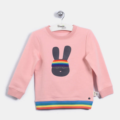 L-ERIN - 70'S Bunny Sweatshirt - Kids Girl - Dusty pink