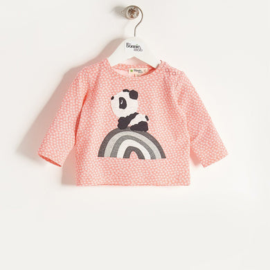 ALLO - Girls Rainbow Panda T-Shirt - Sorbet