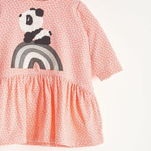 將圖片載入圖庫檢視器 ALMA - Girls Rainbow Panda Applique Dress - Sorbet