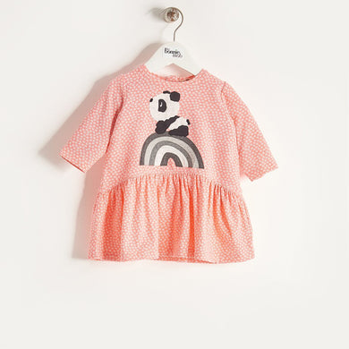 ALMA - Girls Rainbow Panda Applique Dress - Sorbet