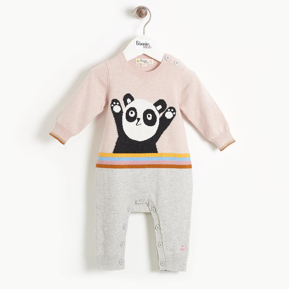 BEATLES - Baby Girl Panda Intarsia Playsuit - PALE PINK