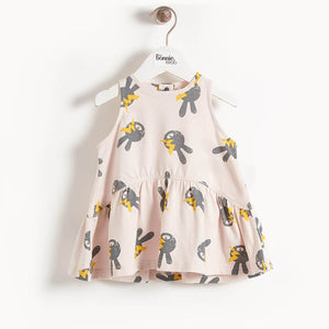 BELL - Bunny Print Sleeveless Kids Dress - Sand Bunny