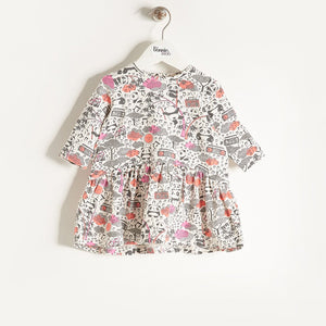BESSY - Girls Panda Print Flared Dress - Pink