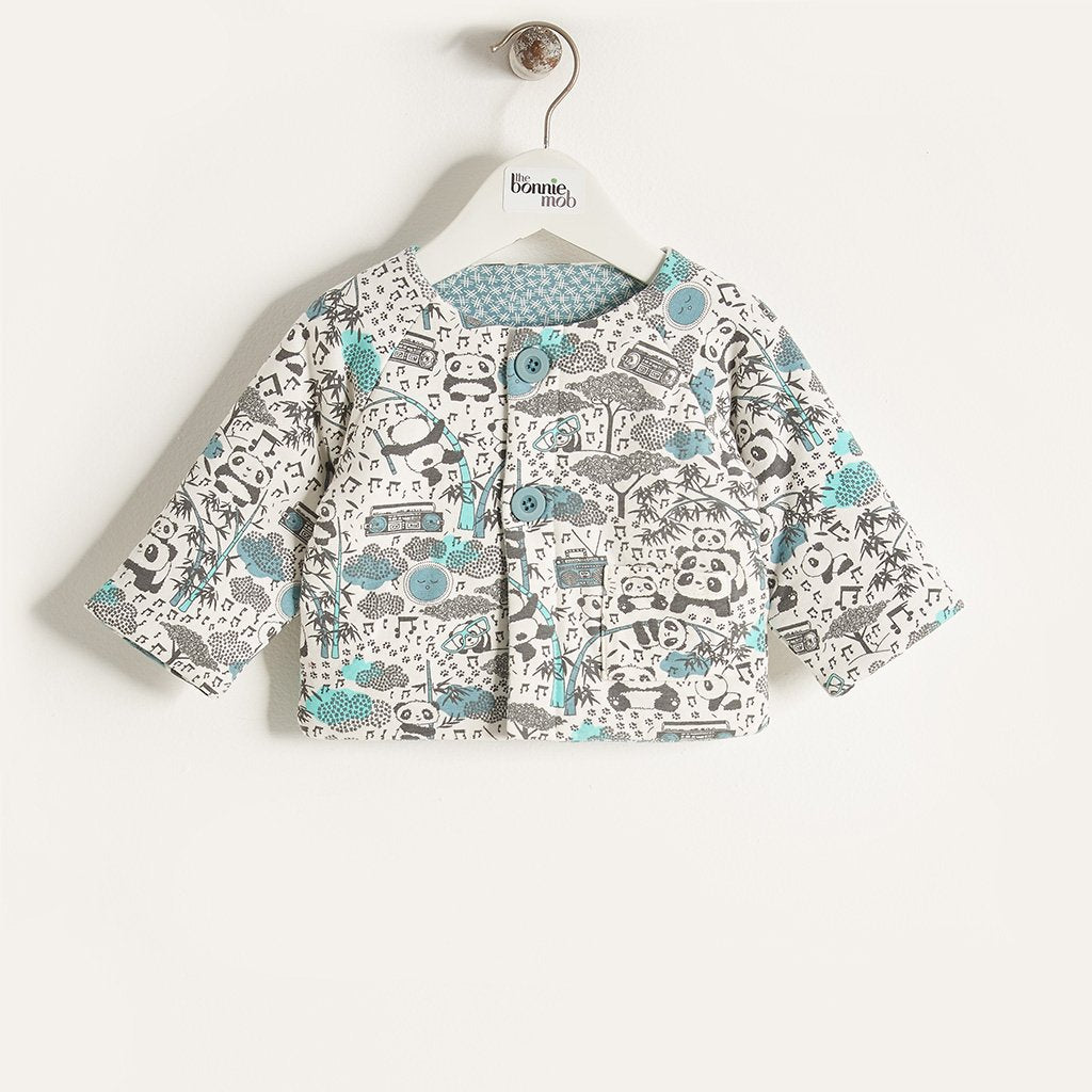 BLISS - Baby Boy Panda Print Padded Jacket - Blue