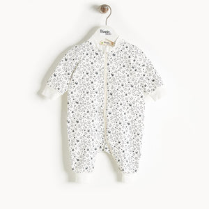 BUZZY - Zip Front Playsuit - Baby Unisex - Cream star print