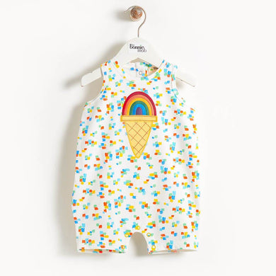 CALDER - Motif Sleeveless Baby Romper - Rainbow Ice Cream Applique