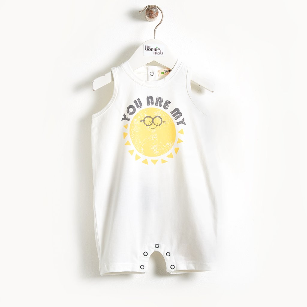 CALDER - Motif Sleeveless Baby Romper - You Are My Sunshine print