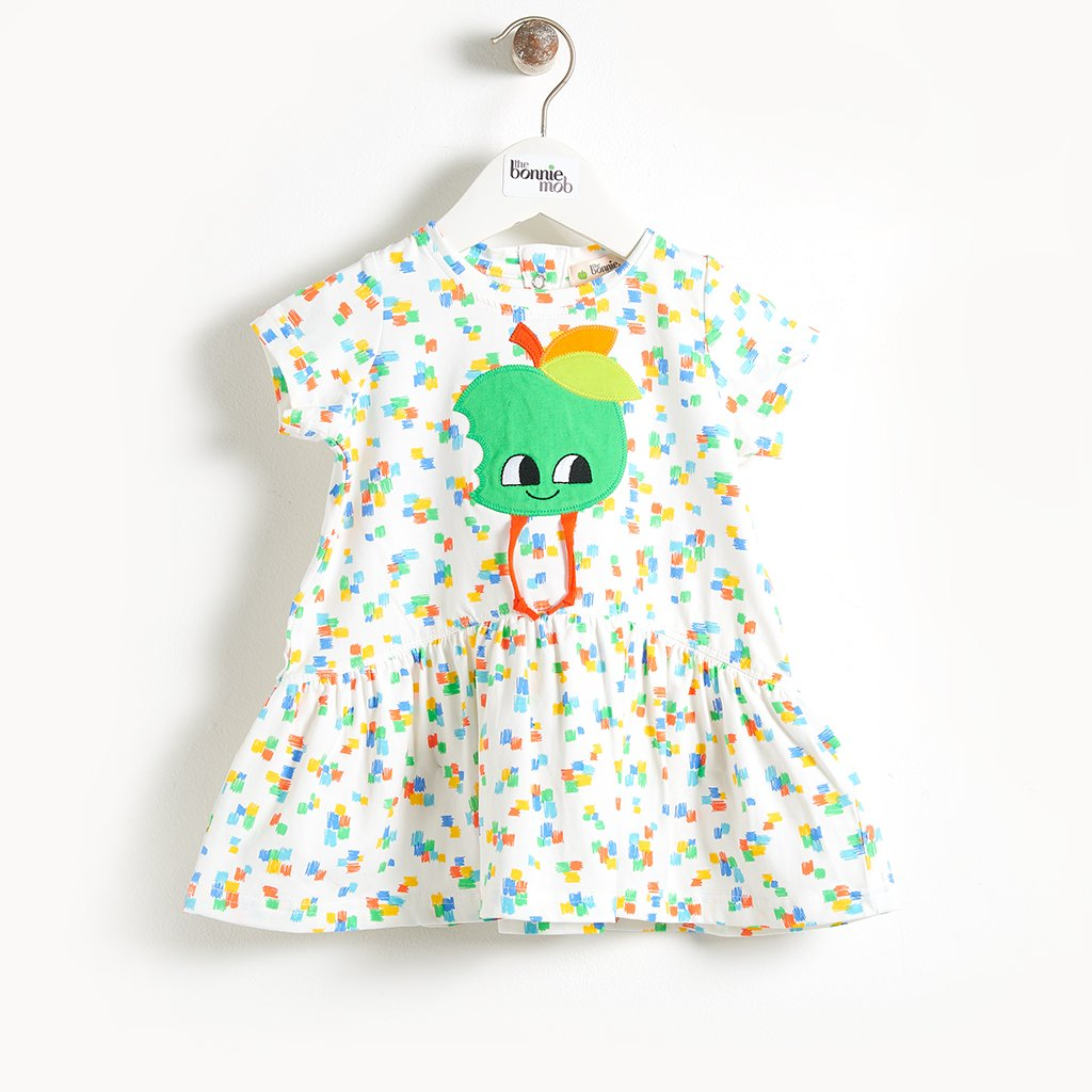 CALLOW - Motif Short Sleeve Full Frill  Baby Dress - Apple Applique