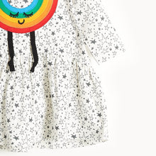 将图片加载到图库查看器,CANDI - Rainbow Applique Dress - Baby Girl - Grey star print