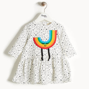 CANDI - Rainbow Applique Dress - Baby Girl - Grey star print