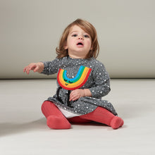 將圖片載入圖庫檢視器 CANDI - Rainbow Applique Dress - Baby Girl - Grey star print