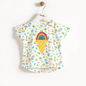 CEZANNE - Motif Short Sleeve Kimono Baby T Shirt - Rainbow Ice Applique