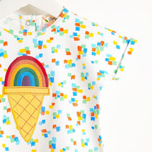 将图片加载到图库查看器,CEZANNE - Motif Short Sleeve Kimono Baby T Shirt - Rainbow Ice Applique