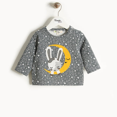 CHARMIN - Moon Bunny Applique T-Shirt - Kids Unisex - Grey star print