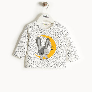CHARMIN - Moon Bunny Applique T-Shirt - Kids Unisex - Cream star print