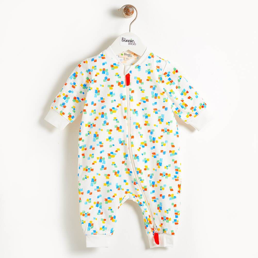 DARNELL - Zip Front Baby Playsuit In All Over Print - Multicolour