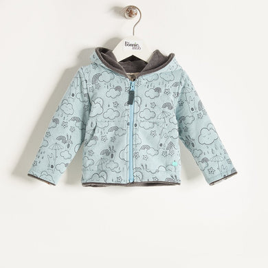 DASHA - Baby Boy Sunshine & Rain Print Hoodie - Blue
