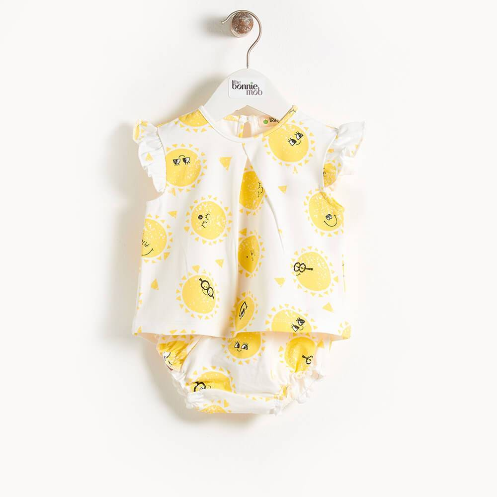 DUVAL - Printed Frill Sleeve Top & Bloomer Set - Sunshine Print