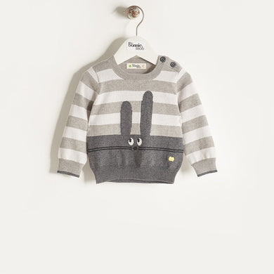 FREDDO - Unisex Kids Knitted Bunny Sweater - Greys