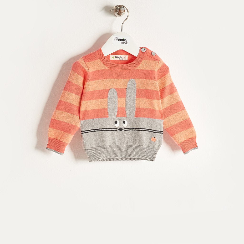 FREDDO - Baby Girl Knitted Bunny Sweater - Sorbet