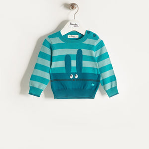FREDDO - Baby Boy Knitted Bunny Sweater - Teal