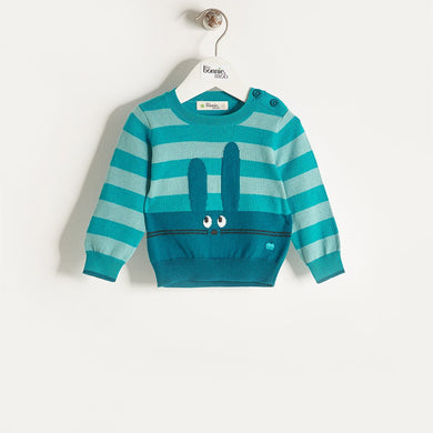 FREDDO - Knitted Bunny Sweater - Teal