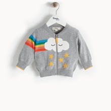 将图片加载到图库查看器,GOOFY - Rainbow Cloud Cardigan - Baby Unisex - Grey