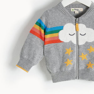 GOOFY - Rainbow Cloud Cardigan - Kids Unisex - Grey